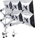 6-násobný držiak monitora SpeaKa Professional Flex, montáž na stôl s tlakovou technológiou plynu s priechodkou a C-svorkou