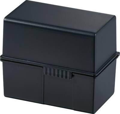 HAN  977-13 škatlica za kartice črna Maks. število kartic: 300 kartic din a7 prečno jekleni tečaj, pokrov, uporabljiv tu
