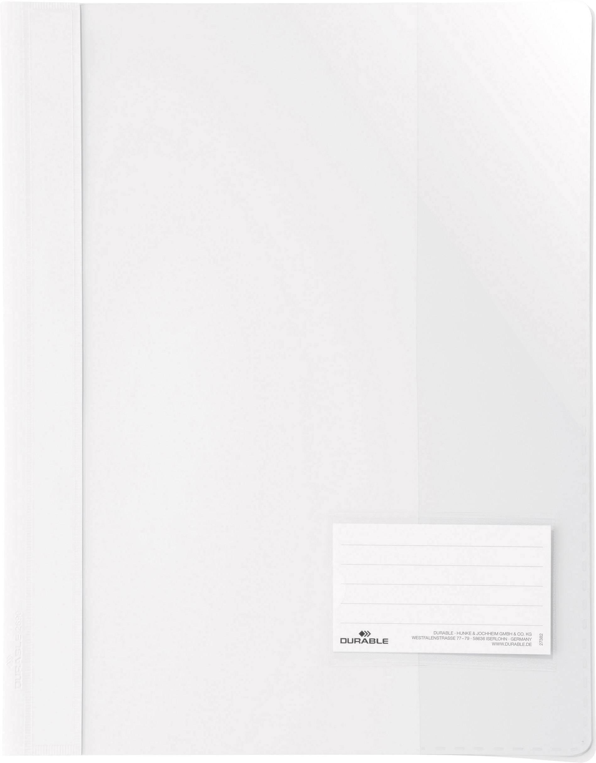 Durable  269002 spenjalnik bela din a4+ markirno okno (90 mm x 57 mm), zaščita pred praskami, notranji žep (na zadnji st