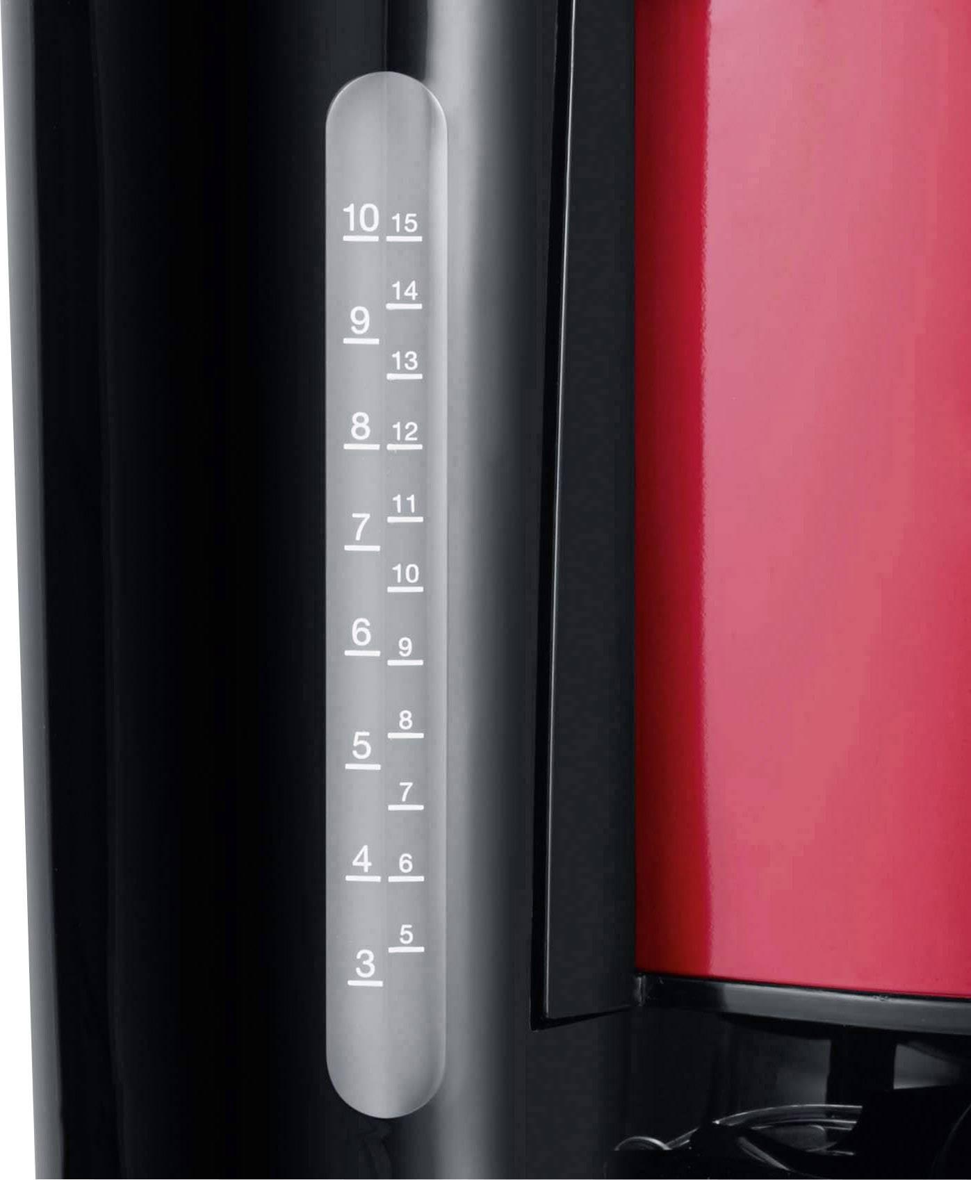 Severin KA 4817 kavni aparat rdeča (kovinska), črna  Kapaciteta skodelice=10