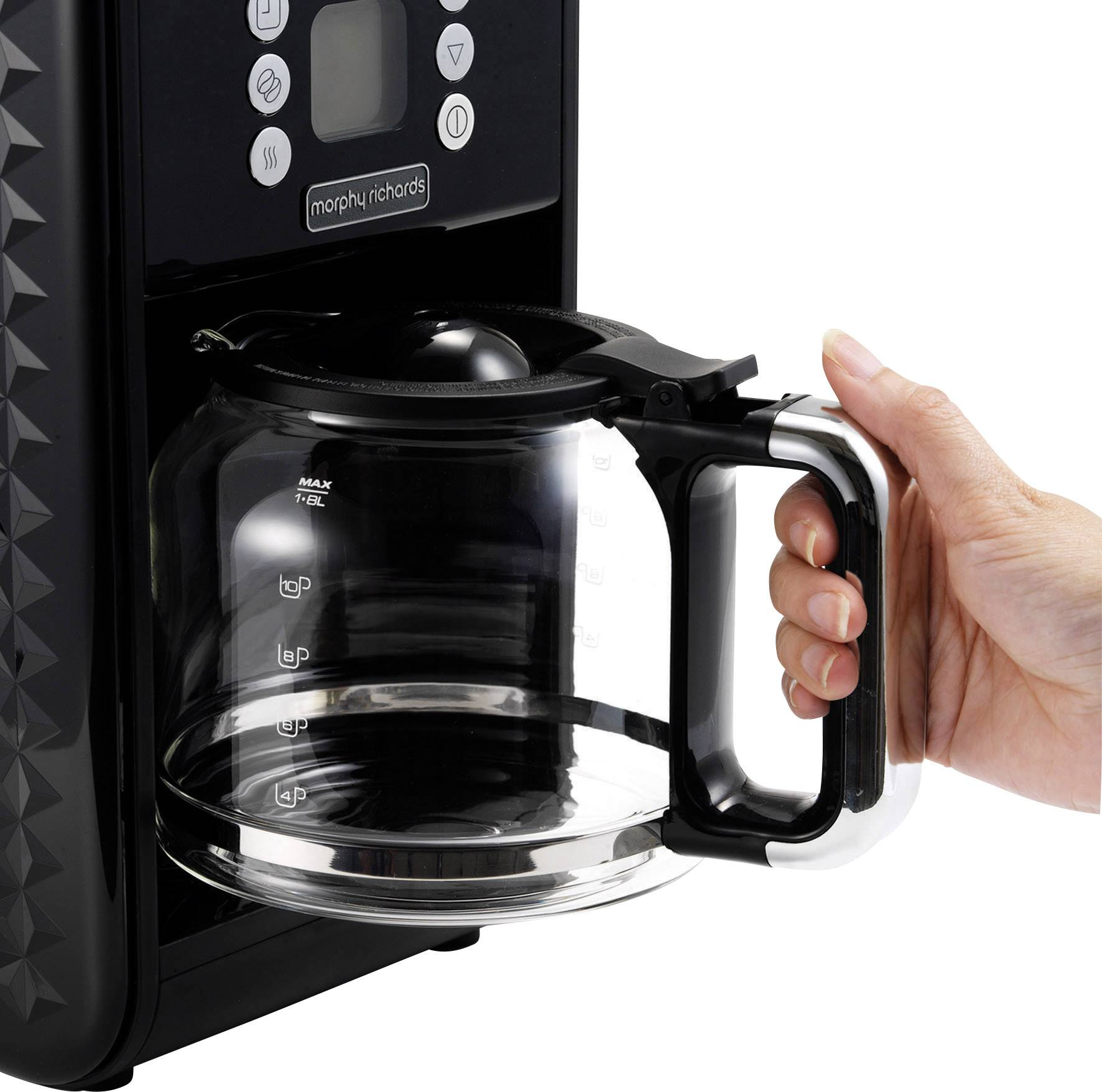 Morphy Richards Vector kavni aparat črna  Kapaciteta skodelice=12 stekleni vrč, toplotna funkcija, funkcija timer