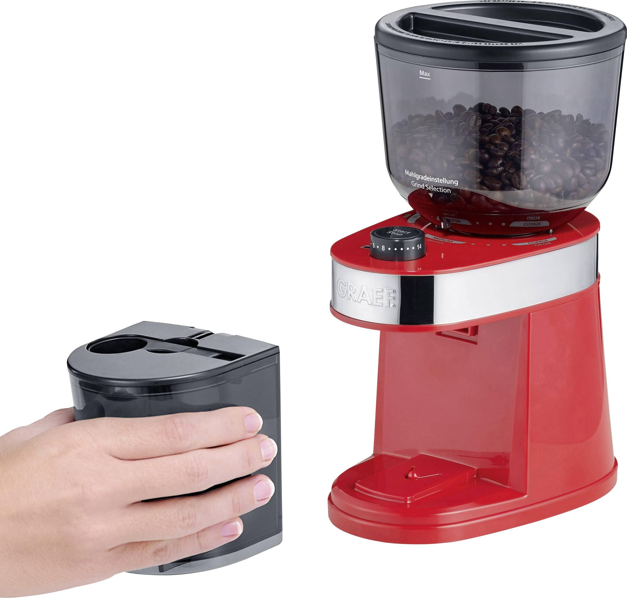 Graef CM203EU CM203EU mlinček za kavo rdeča nerjaveči mlinček s ploščatim rezilom