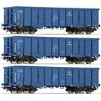 Roco 76128 H0 komplet 3 odprtih tovornih vagonov PKP Cargo