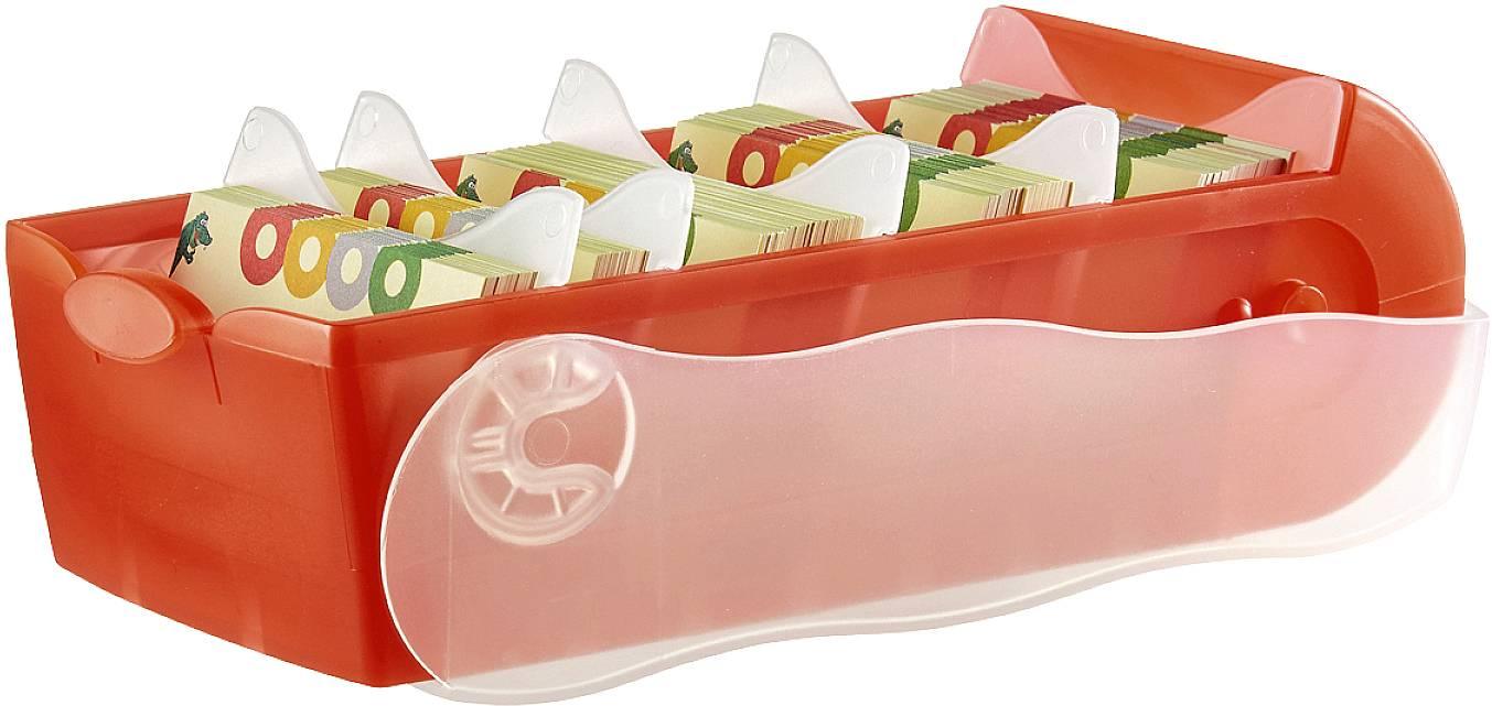 HAN CROCO 998-617 škatlica za kartice translucentna, rdeča Maks. število kartic: 500 kartic din a8 prečno vključ. s 100
