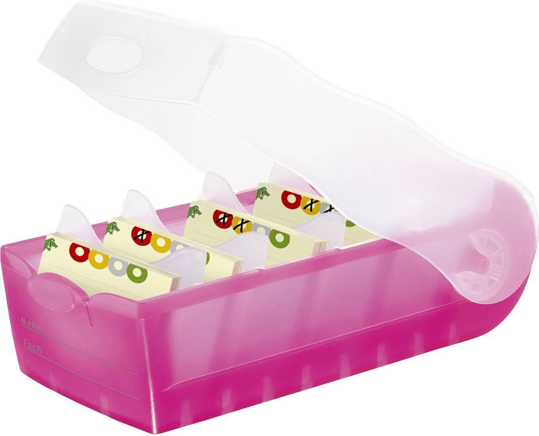 HAN CROCO 998-663 škatlica za kartice translucentna, roza Maks. število kartic: 500 kartic din a8 prečno vključ. s 100 č