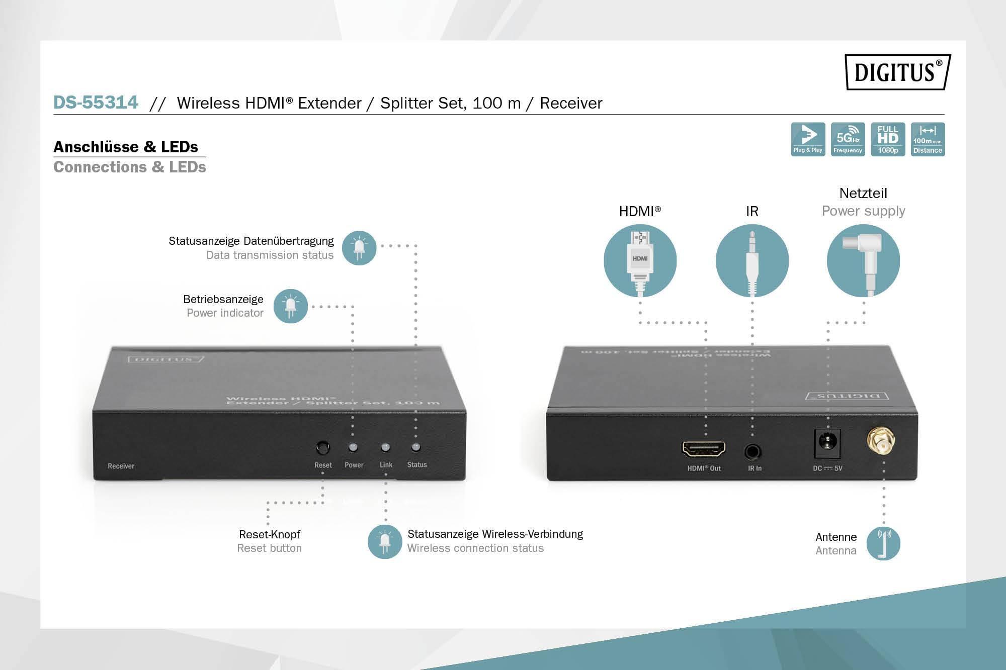Digitus DS-55314 HDMI naprava za brezžični prenos (komplet) 100 m 5 GHz 1024 x 720 piksel, 1080 x 720 piksel, 1200 x 720