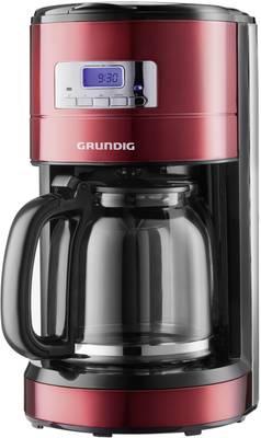 Kavni aparat Grundig KM 6330 rdeča (kovinska), črna, nerjaveče jeklo, za 12 skodelic, zaslon, timer