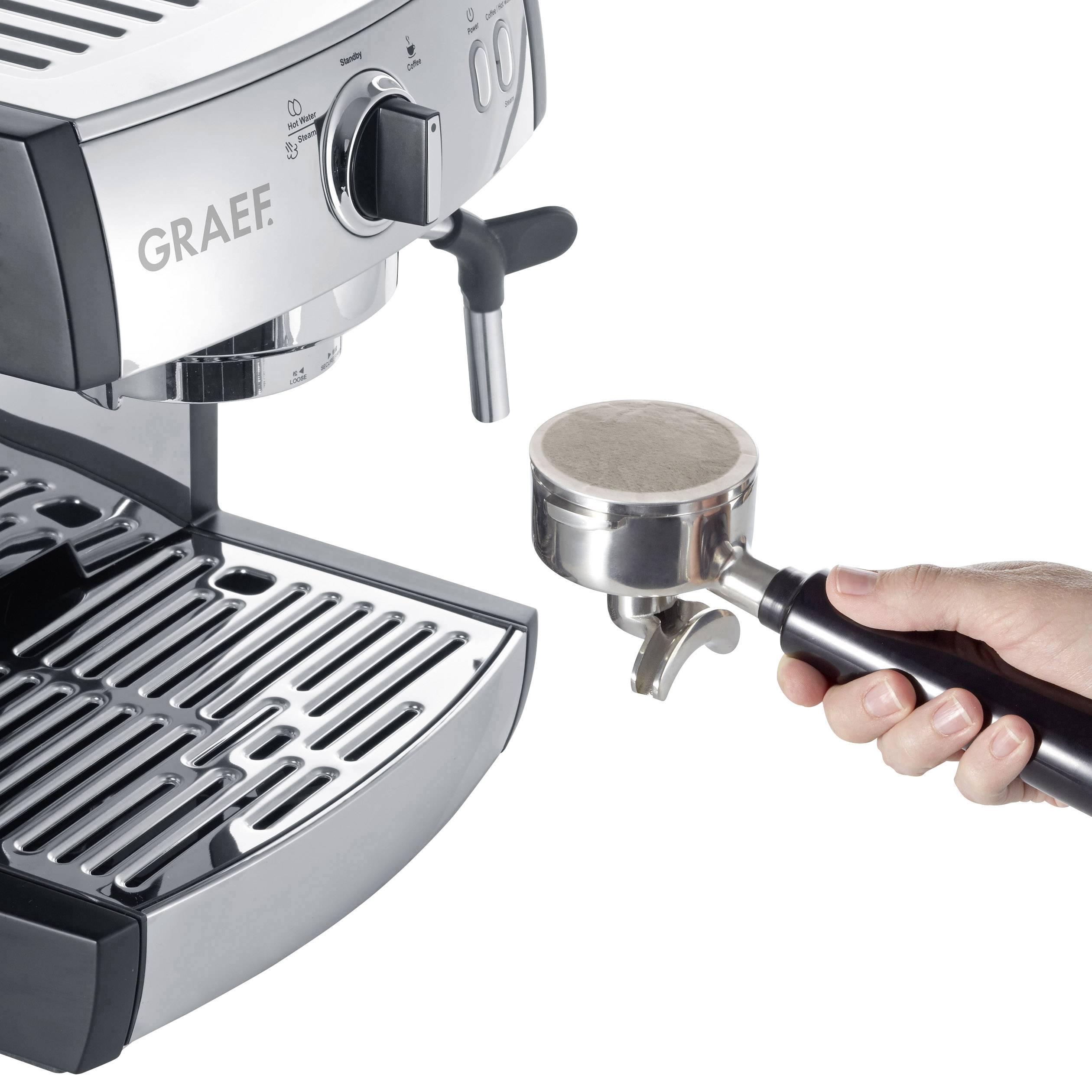 Graef Pivalla EUSET avtomat za espresso z držalom za filter legirano jeklo 1410 W s šobo za penjenje mleka