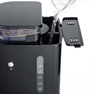 Severin KA 4810 kavni aparat legirano jeklo, črna  Kapaciteta skodelice=10 z mlinčkom, funkcija timer