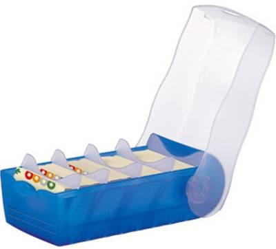 HAN CROCO 998-643 škatla za kartice modra, translucentna Maks. število kartic: 500 kartic din a8 prečno vključ. s 100 čr