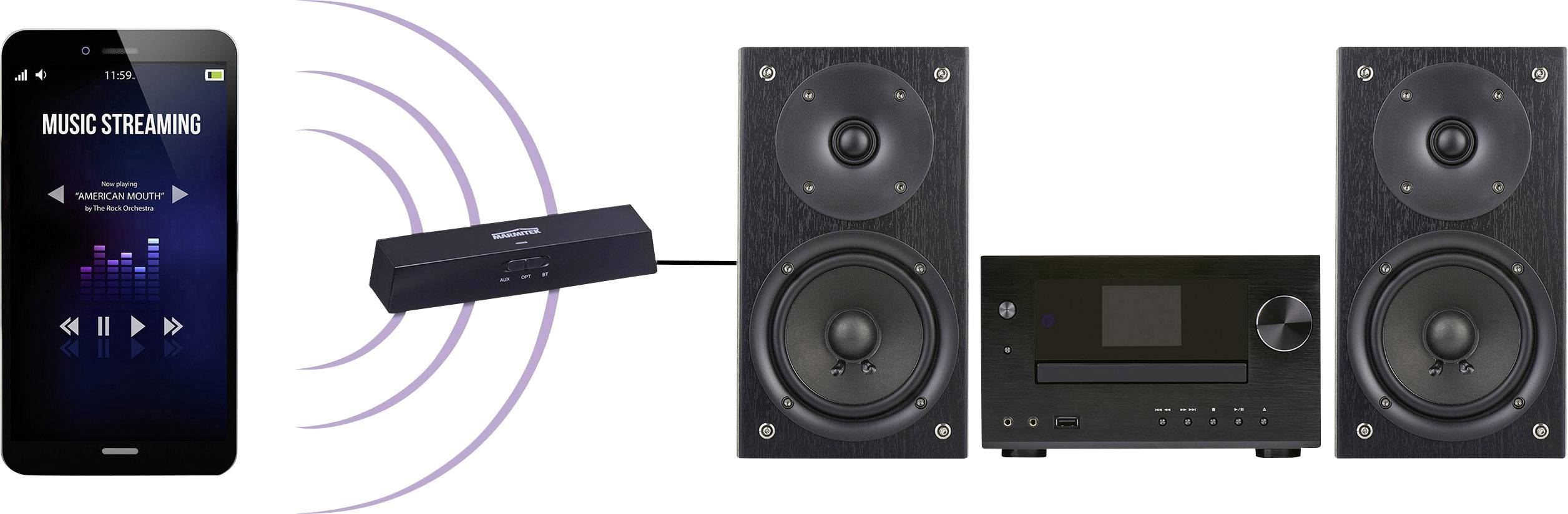 Marmitek BoomBoom 100 Bluetooth® sprejemnik glasbe (komplet) Bluetooth: 4.1 15 m aptx-tehnologija