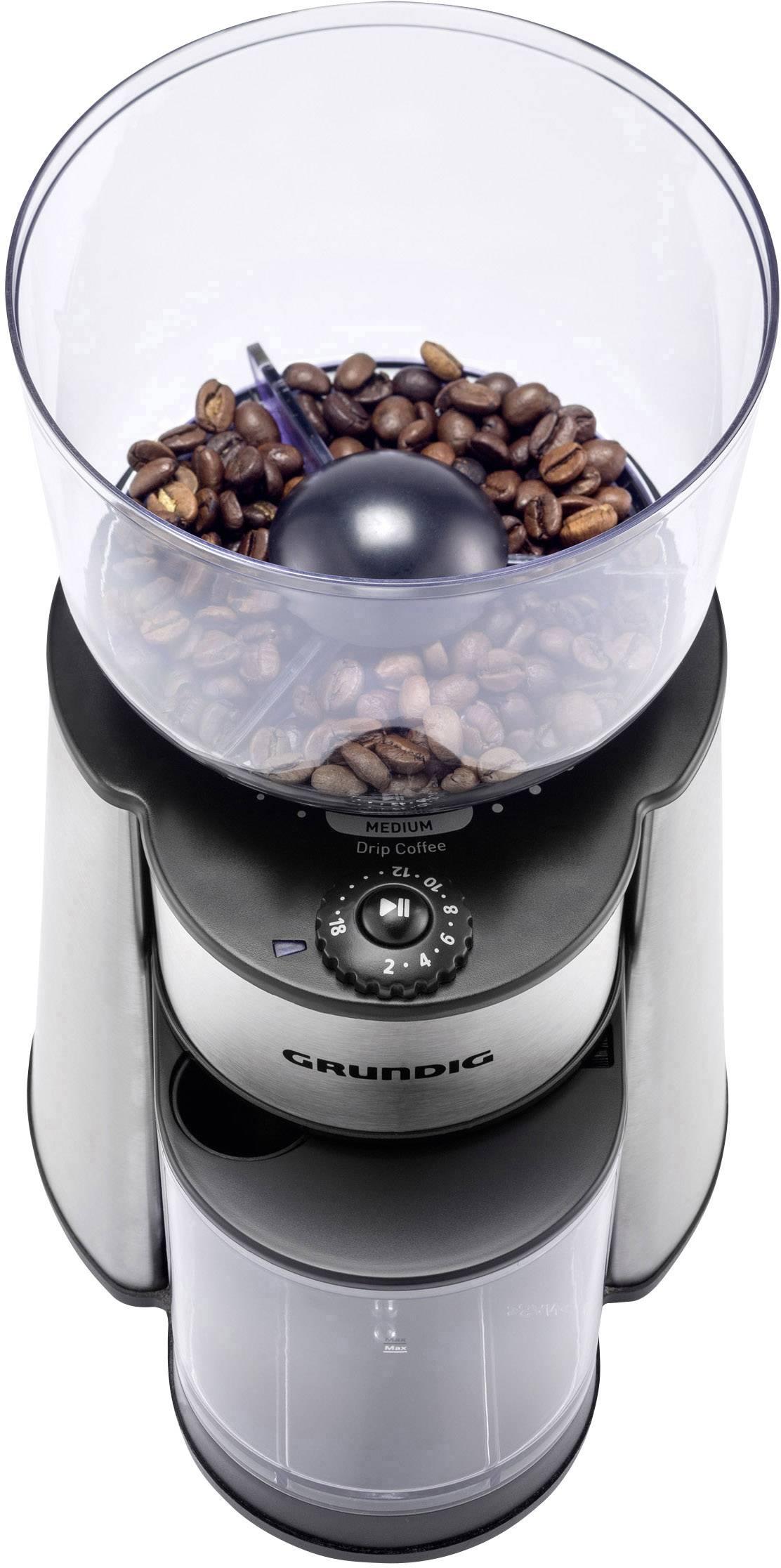 Grundig CM 6760 GMS2060 mlinček za kavo legirano jeklo, črna nerjaveči mlinček s ploščatim rezilom