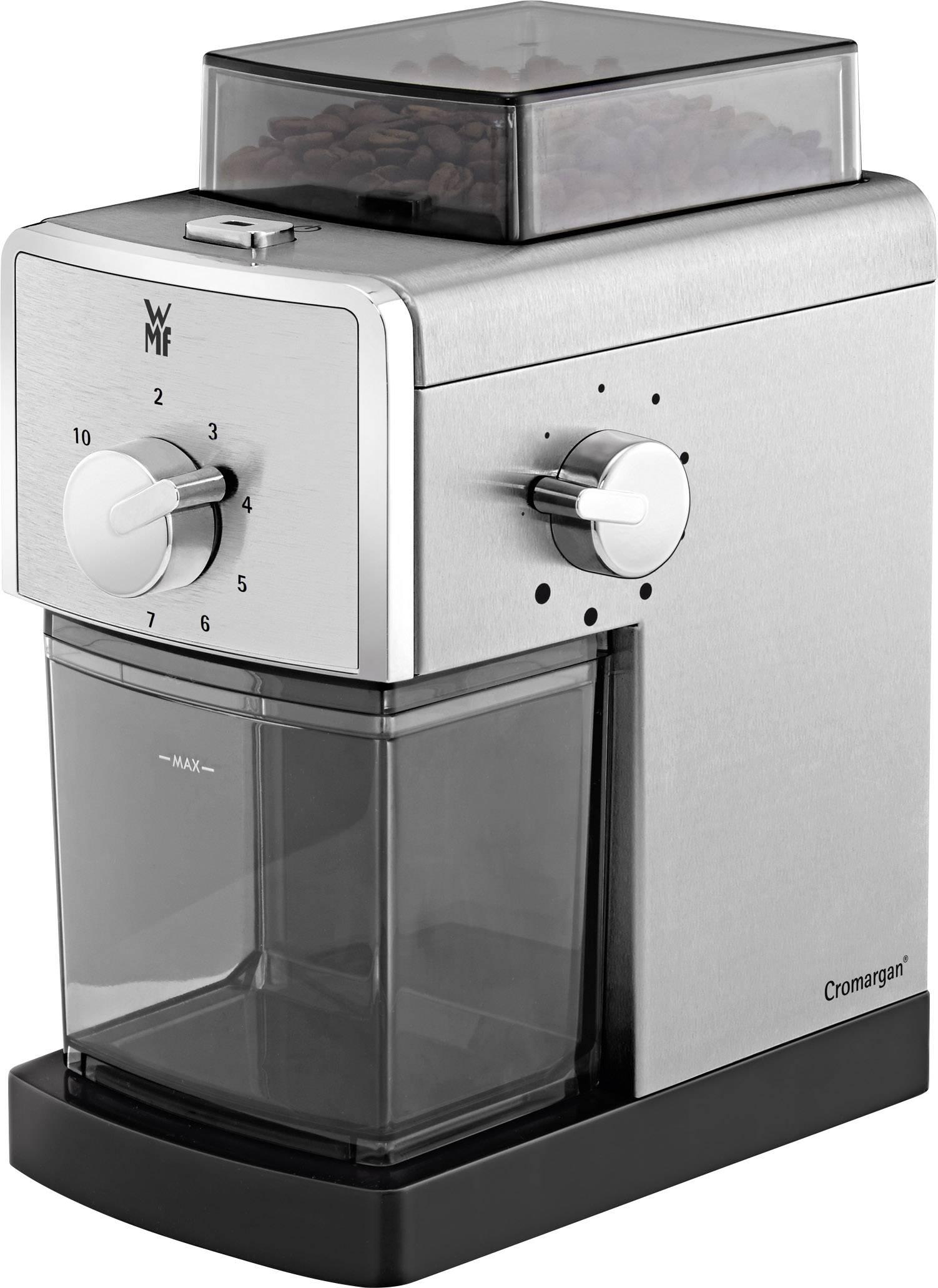 WMF Stelio Edition 0417070011 mlinček za kavo srebrna, črna nerjaveči mlinček s ploščatim rezilom