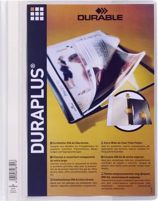 Mapa s sponko in s prozorno platnico Duraplus, bela 2579-02 Durable