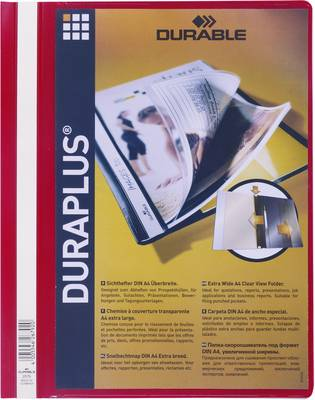 Mapa s sponko in s prozorno platnico Duraplus, rdeča 2579-03 Durable