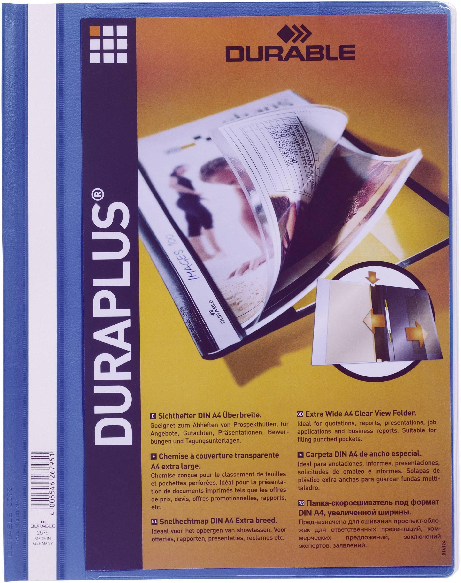 Mapa s sponko in s prozorno platnico Duraplus, modra 2579-06 Durable