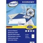 Evropa 100 Europe 100 Universalne nalepke ELA026 210 mm x 148,5 mm A4 100 listov / 200 Etikete bela