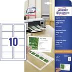 Avery-Zweckform C32011-25 natisljive vizitke, gladki robovi 85 x 54 mm bela 250 kos Format papirja: din a4
