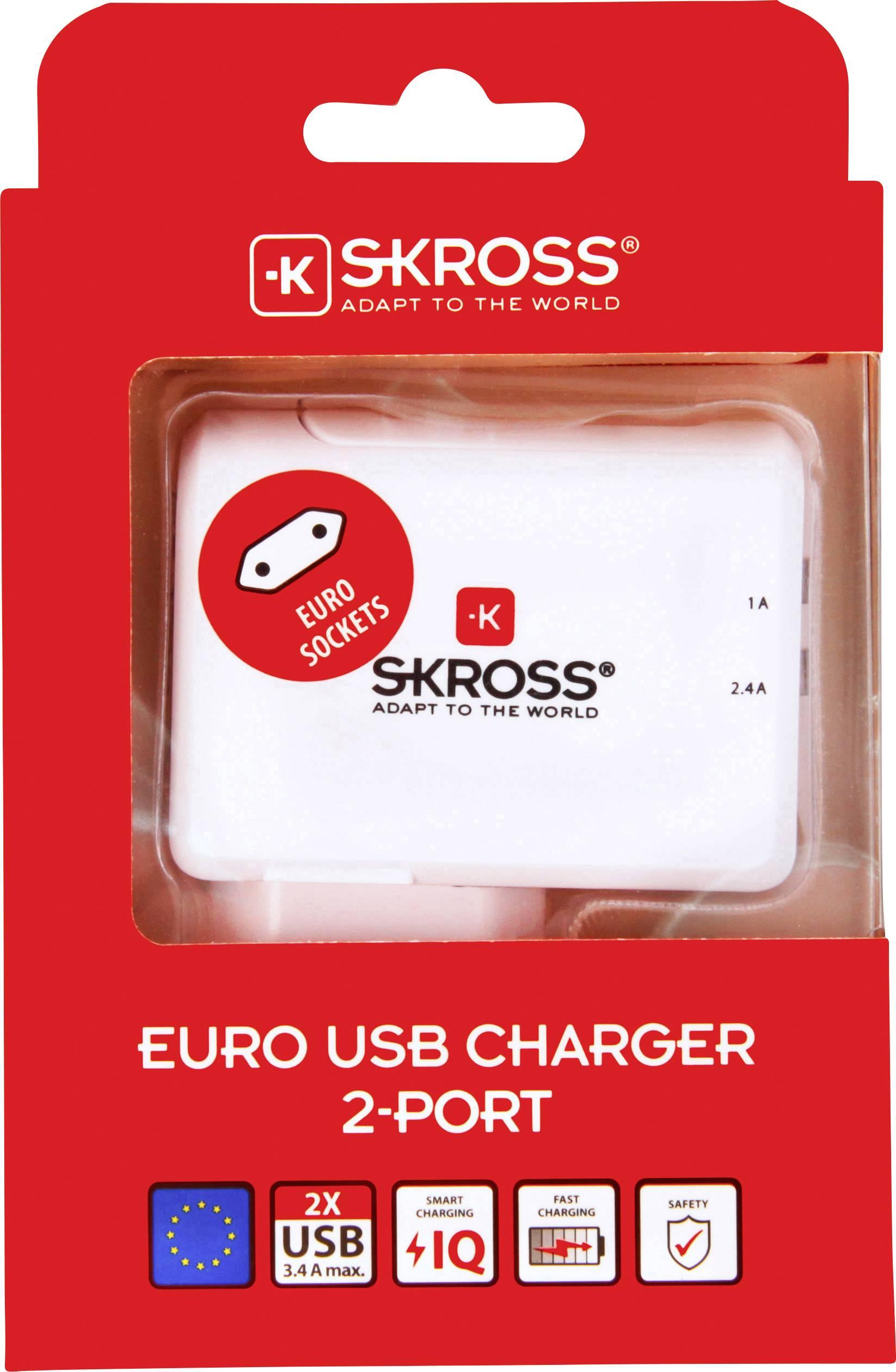 Skross 2.800111 USB laddare Vägguttag Utgångsström max. 3.4 A 2 x USB hane