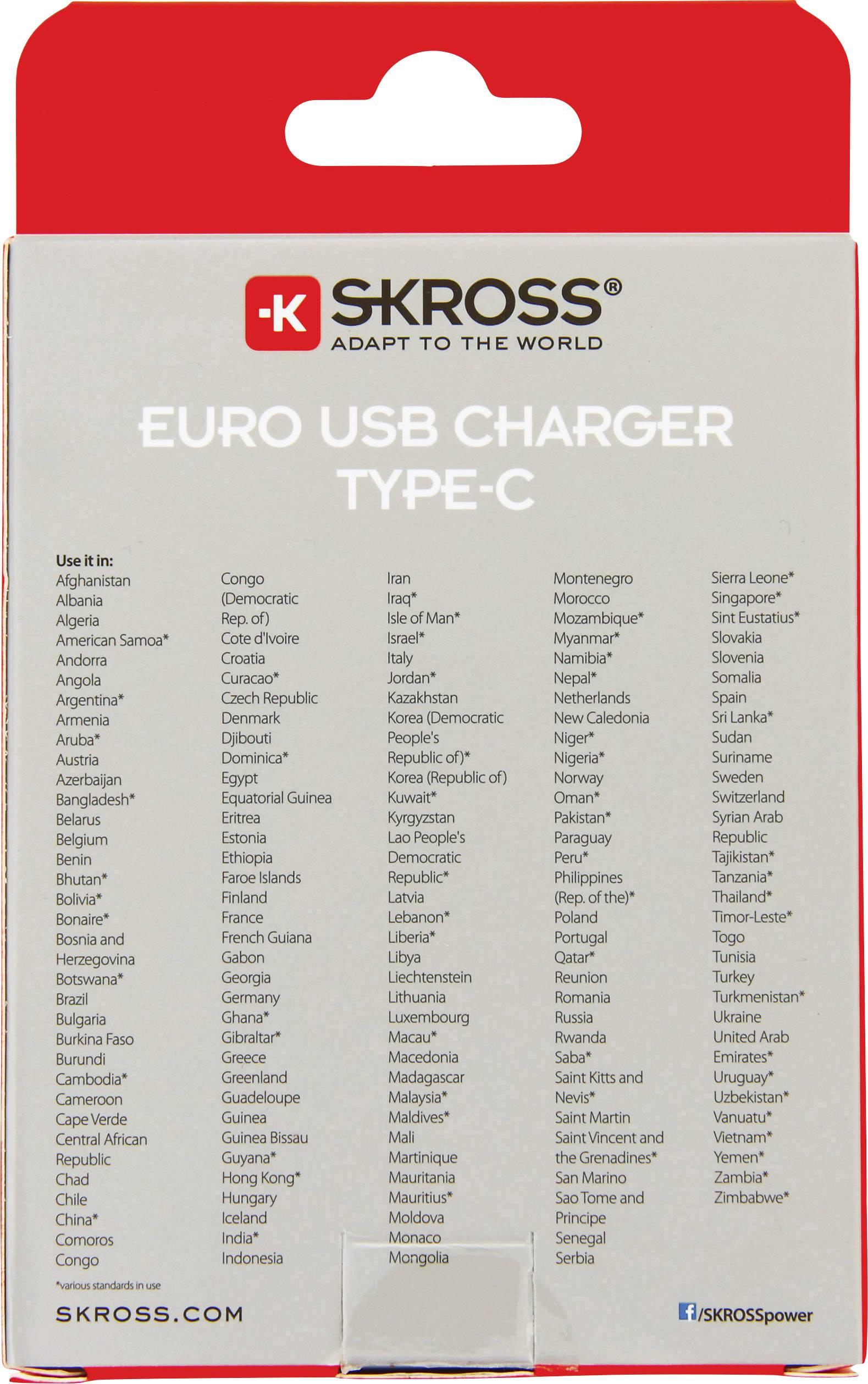 Skross 2.800131 USB laddare Vägguttag Utgångsström max. 5.4 A 2 x