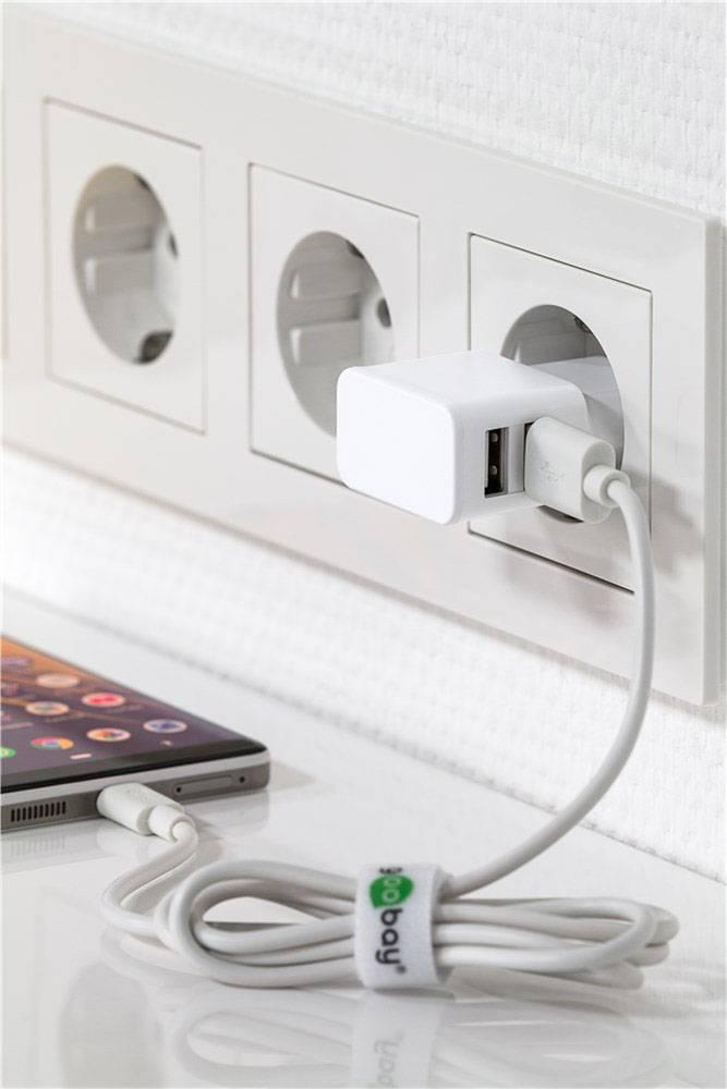 Goobay Apple Lightning Dual Ladeset 2,4 A 44979 USB laddare Vägguttag Utgångsström max. 2.4 A 2 x USB 2.0 A hona, USB 2.