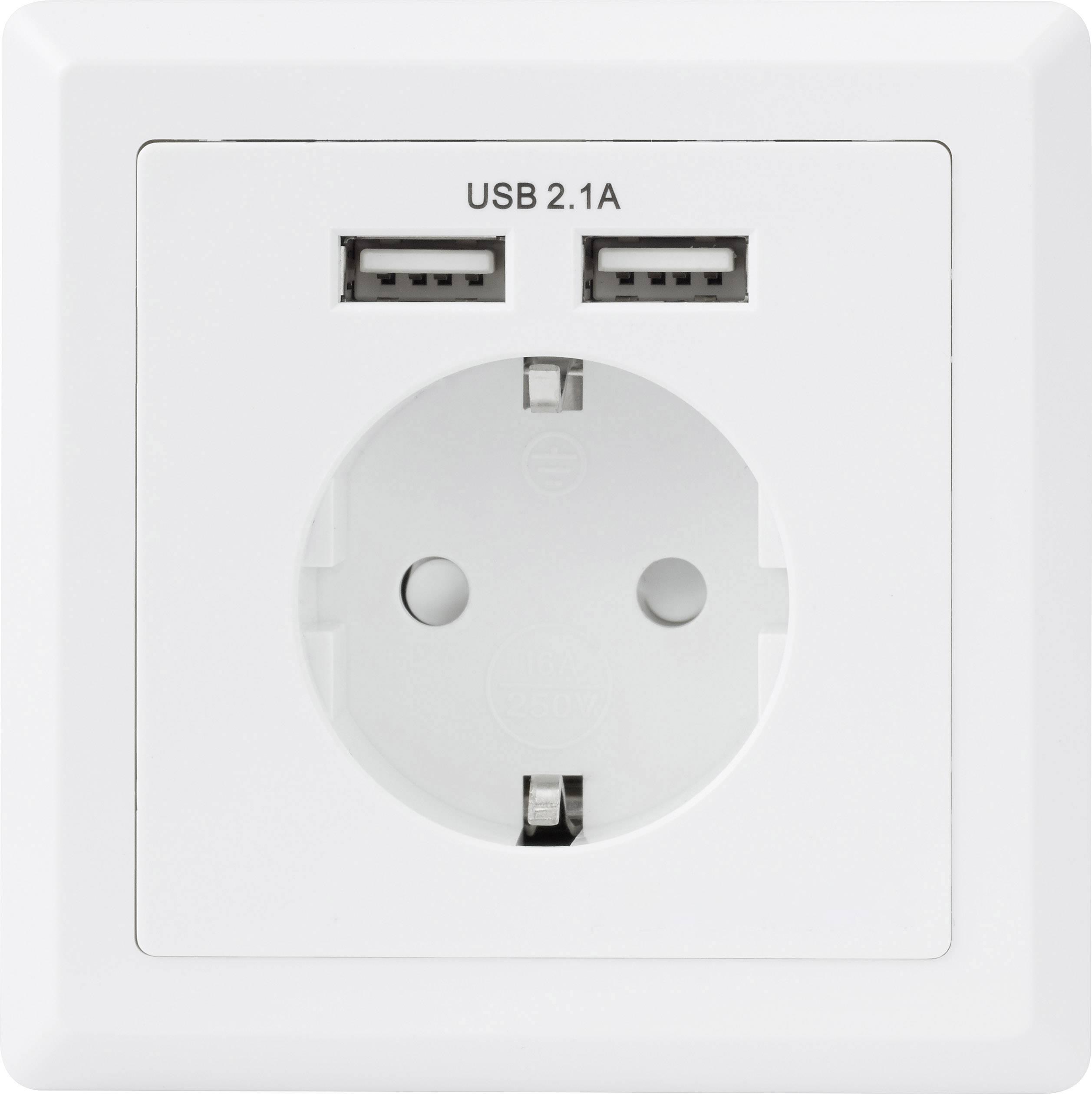 Nykomna Basetech 1425527 Eluttag Infälld USB-uttag IP20 Vit | Conrad.se KI-66
