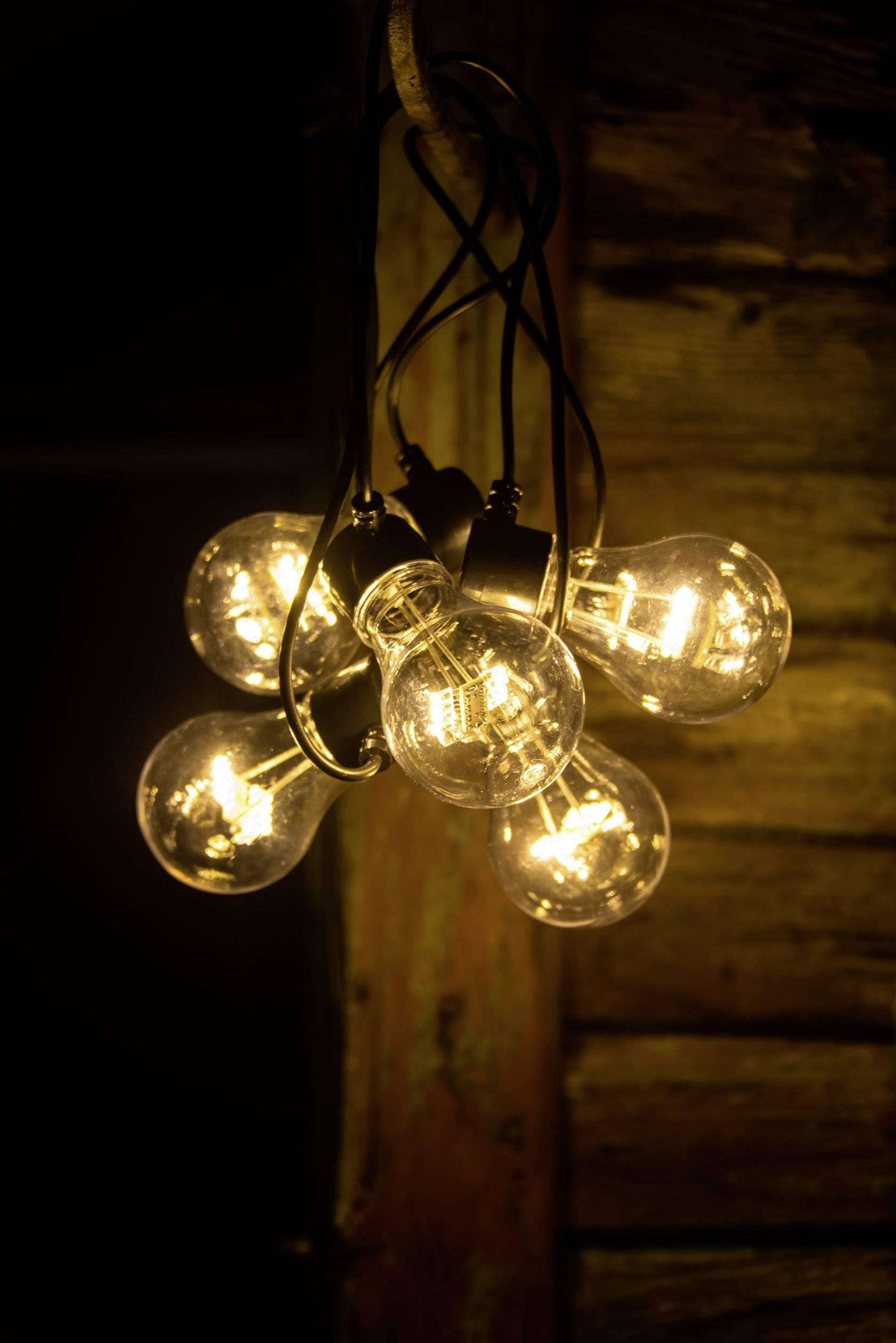Konstsmide 2372 800 Partyljusslinga Utomhus batteri Antal lampor 45 LED Klar, Bärnsten Belyst längd: 2 m