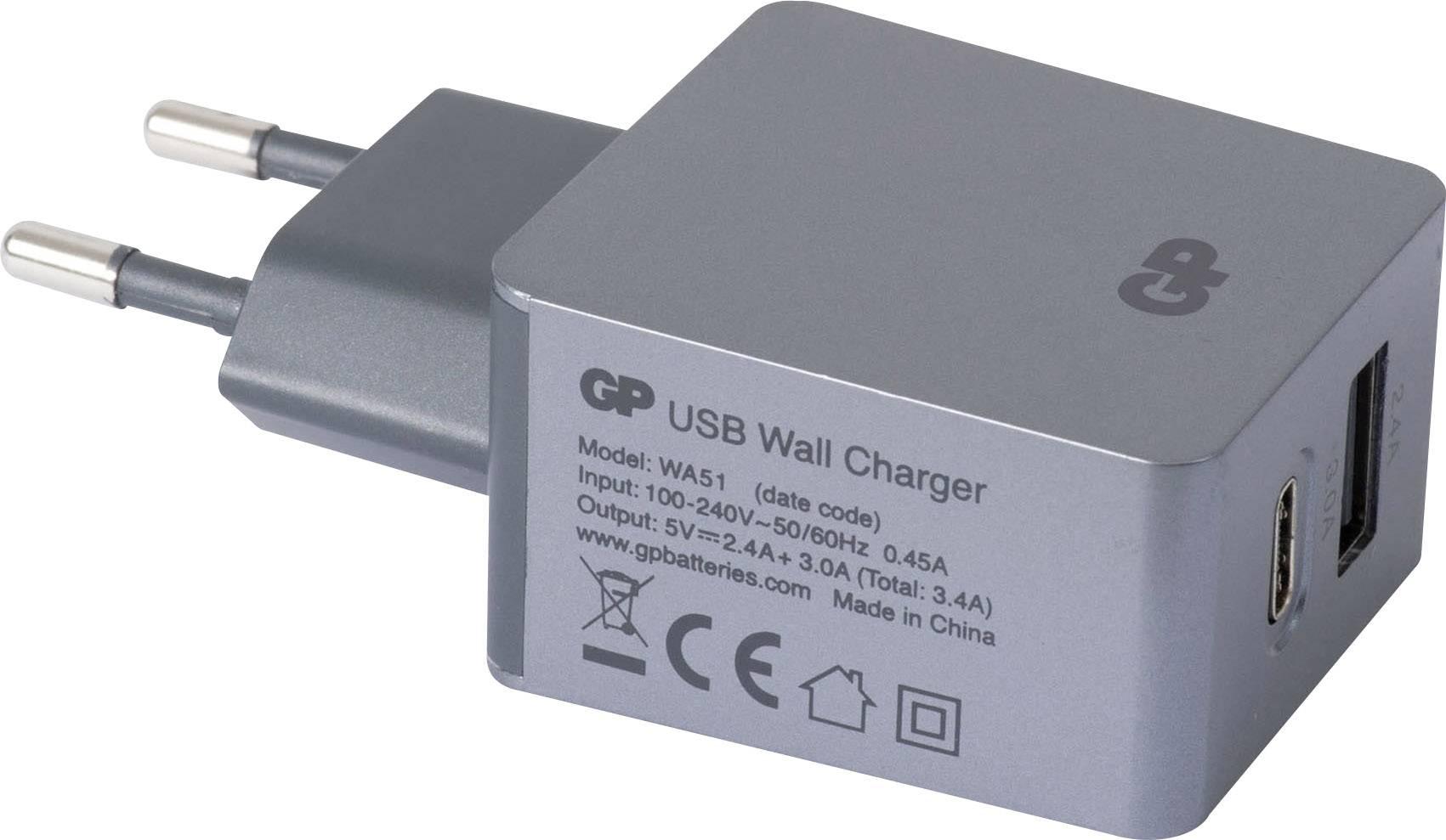 GP Batteries WA51 150GPWA51C1 USB laddare Vägguttag Utgångsström max. 5400 mA 2 x USB, USB C hona