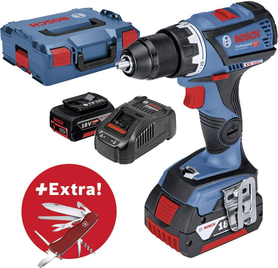 Borrskruvdragare batteri Bosch Professional GSR 18V-60 C + Victorinox 18 V  5 Ah Li-Ion Inkl. 2x batteri 7ac61e073b44b