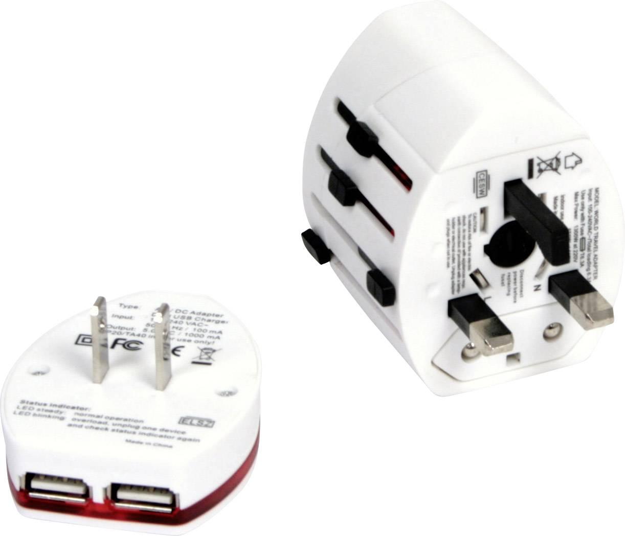 Omega Travel OTRA2 4in1 14014 USB laddare Vägguttag Utgångsström max. 2000 mA 3 x USB, Grenuttag