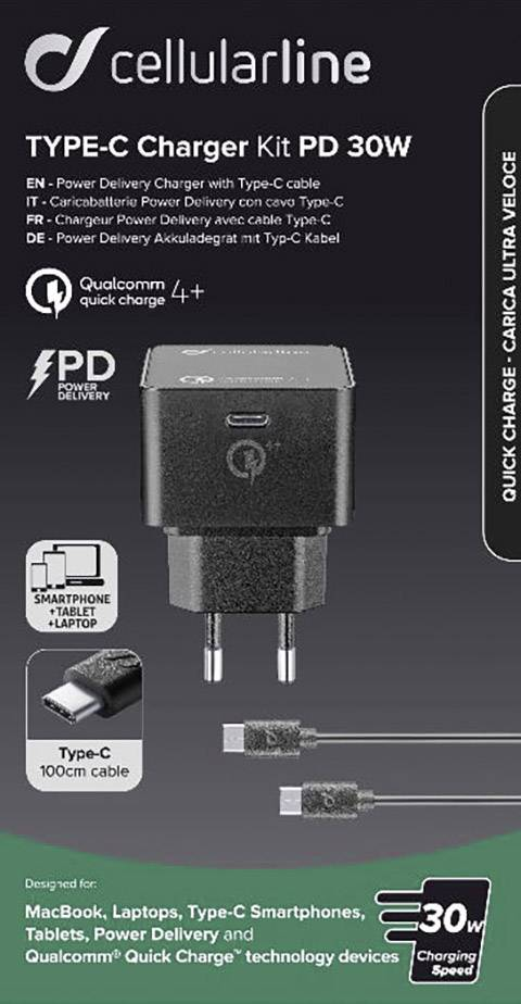 Cellularline Power Kit PD 30W ACHKITQC4TYCK USB laddare Vägguttag Utgångsström max. 3000 mA 1 x USB C hona USB Power Del