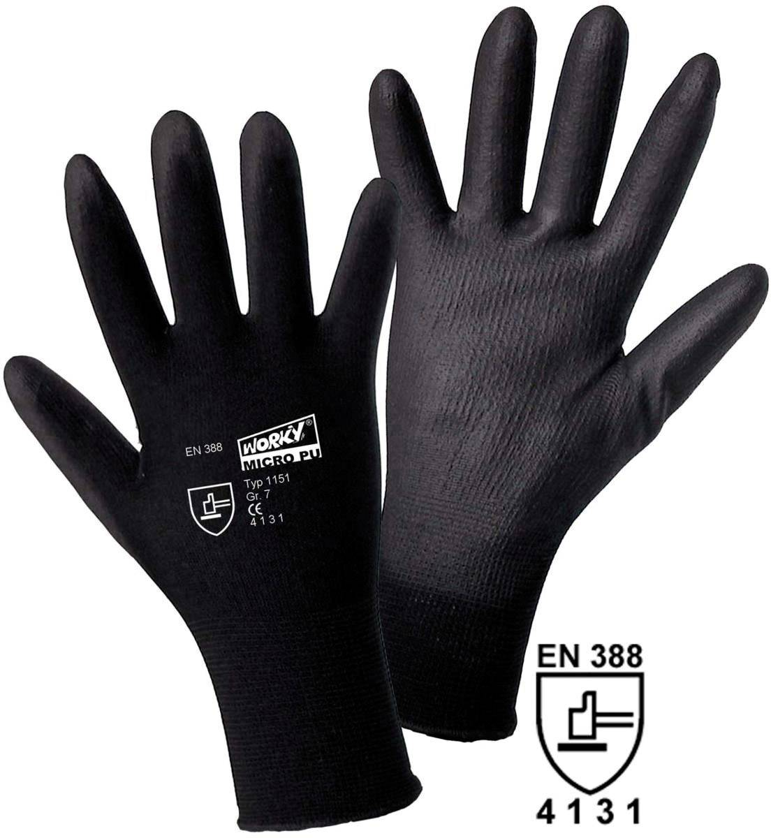 Nylon Arbeitshandschuh Größe ( ... MICRO black Nylon-PU 1151 1 Paar