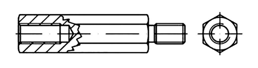TOOLCRAFT Sechskant-Abstandsbolz ... ahl galvanisch verzinkt  100 St.