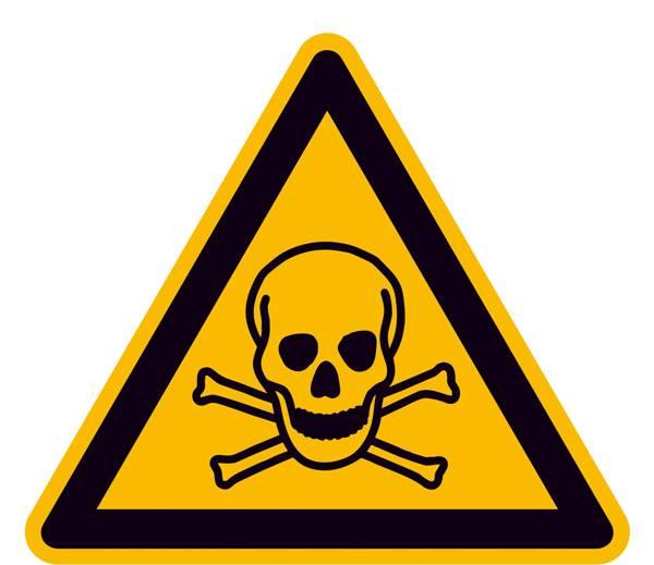 Warnschild Giftige Stoffe  Folie selbstklebend   25 mm ISO 7010 44 St.