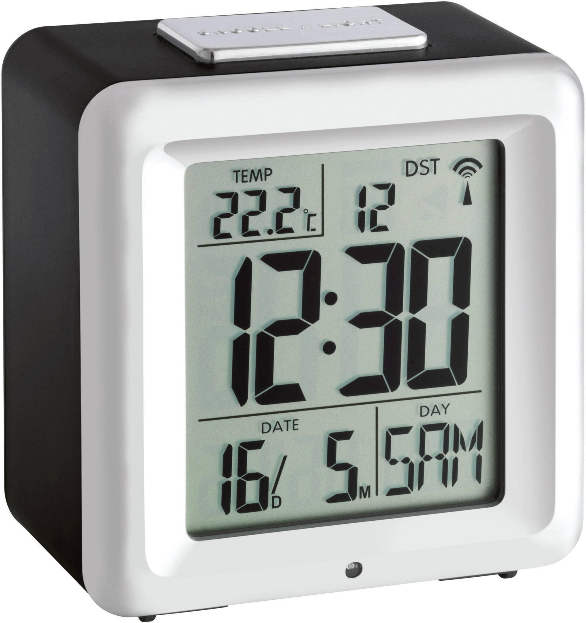 TFA 60.2503 Funk Wecker Schwarz-Silber Alarmzeiten 1