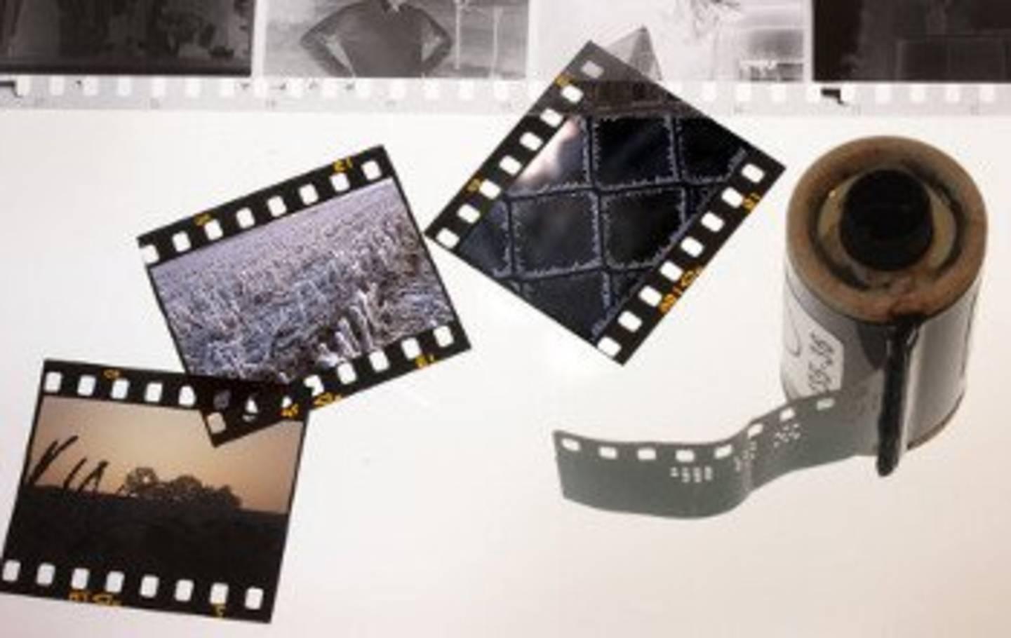Entwickelte Negative und Filmrolle mit Film