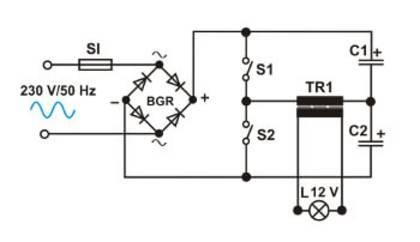 Kopplingsschema för en elektronisk transformator.