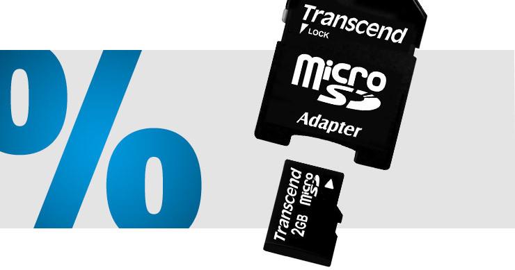 Transcend - microSD-Karte 2 GB Class 2 inkl. SD-Adapter