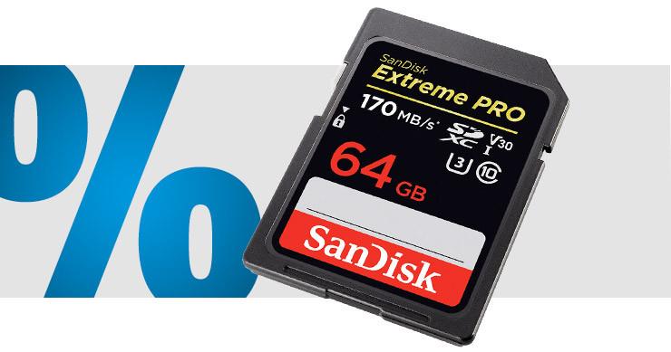 SanDisk - Extreme® PRO SDXC-Karte 64 GB Class 10, UHS-I, UHS-Class 3, v30 Video Speed Class 4K-Videounterstützung