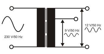 Kopplingsschema på en nättransformatorer