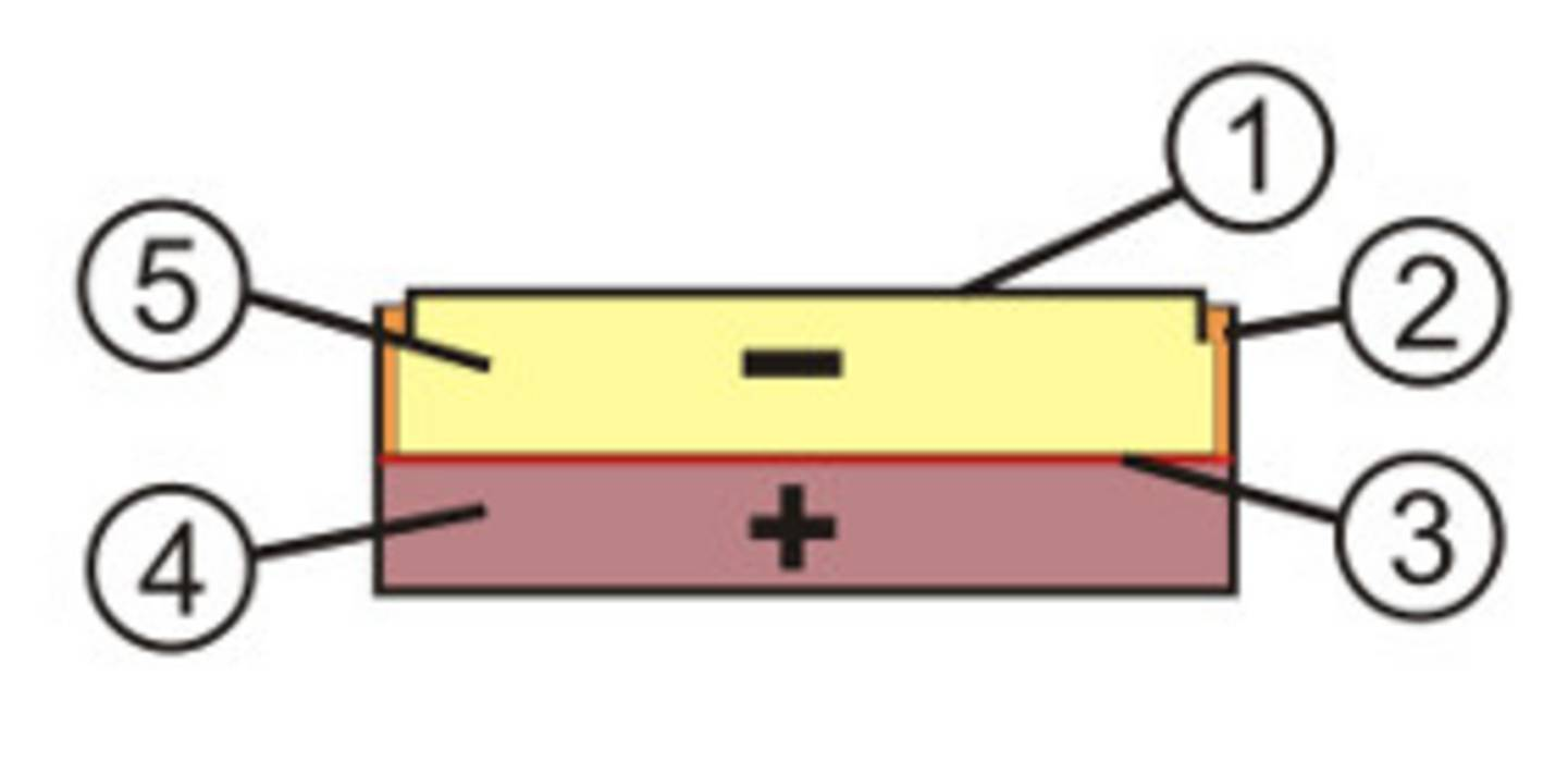 Button cell in cross section