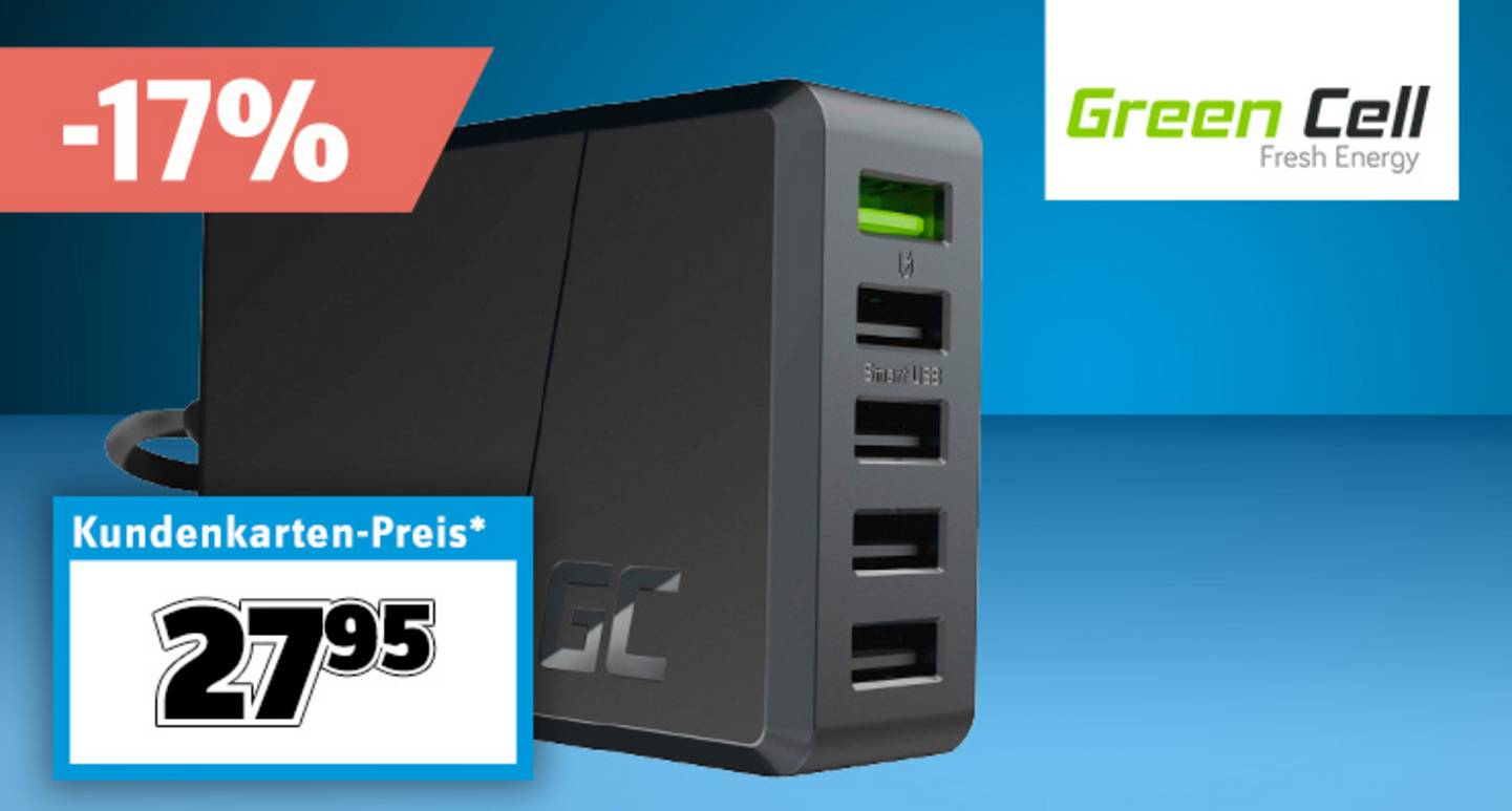 Green Cell - ChargeSource 5 CHARGC05 USB-Ladestation, Steckdose Ausgangsstrom (max.) 2400 mA 5 x USB