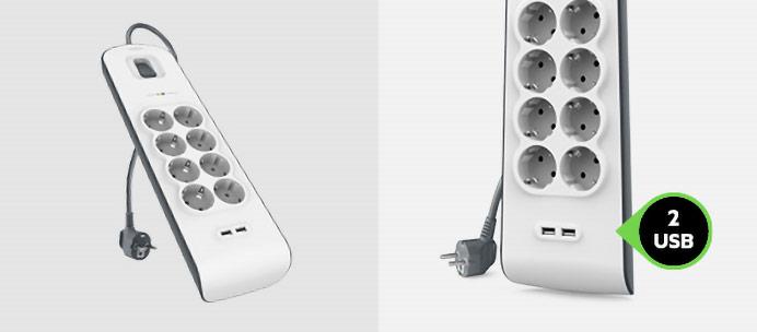 Überspannungsschutz mit acht Steckdosen mit zwei USB-Anschlüssen