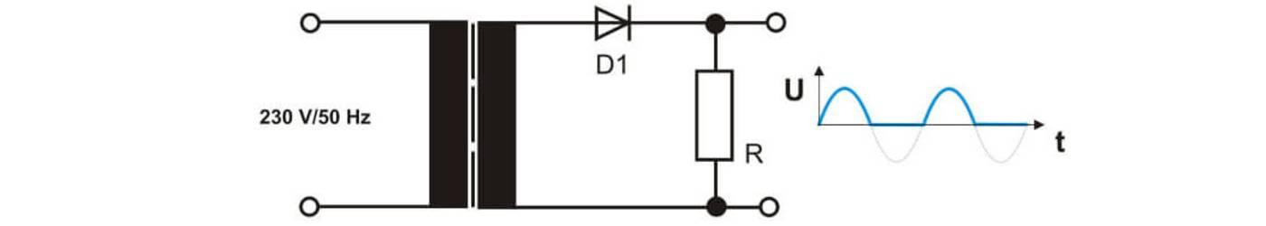 Schematische Darstellung eines Netztrafos mit Gleichrichterdiode