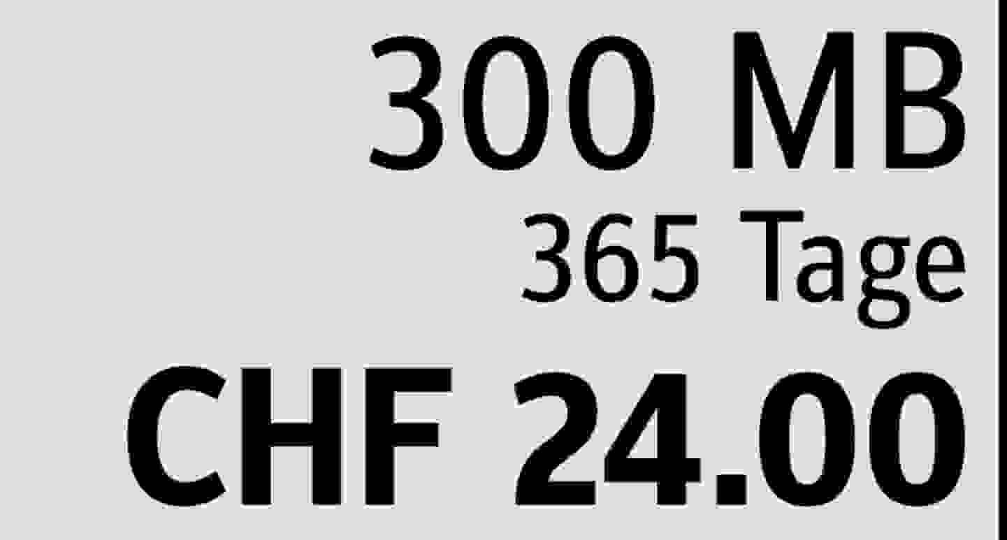 300 MB | 365 Tage | CHF 24.00  » Jetzt profitieren