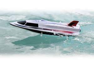 Speed boat in the water