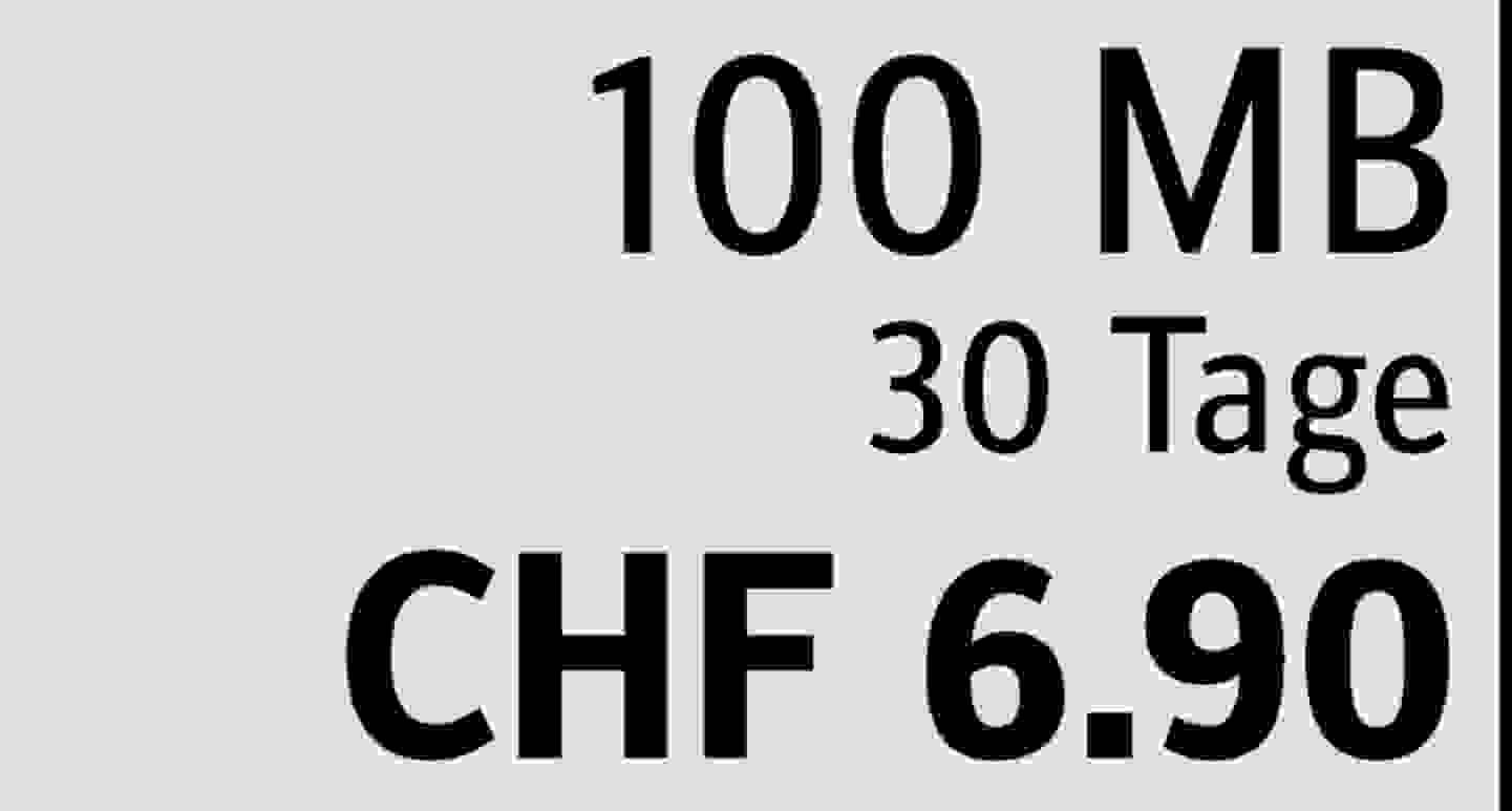 100 MB | 30 Tage | CHF 6.90  » Jetzt profitieren