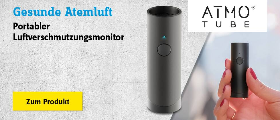 Portabler Luftverschmutzungsmonitor Atmo Tube Plus Black