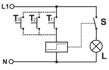 Verdrahtungsplan eines Stromstoßschalters