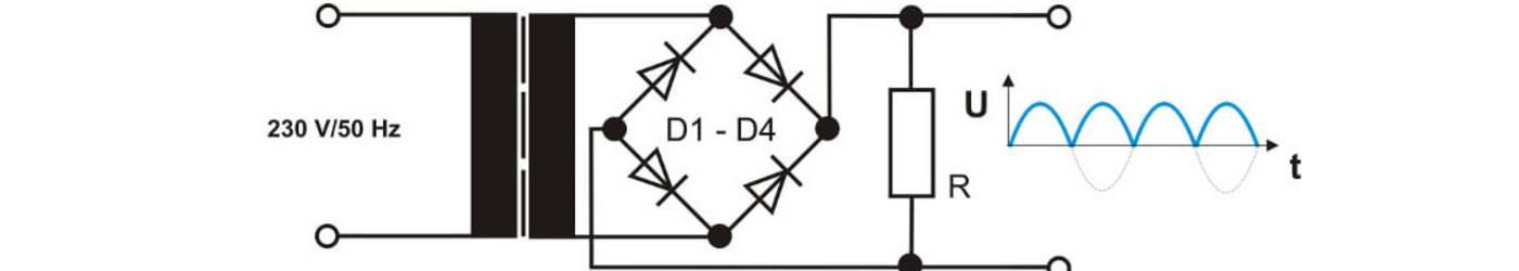 Schematische Darstellung eines Netztrafos mit Brückengleichrichter